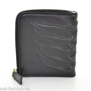 ALEXANDER-McQUEEN-MENS-RIBCAGE-BLACK-LEATHER-ZIP-WALLET-BNWT