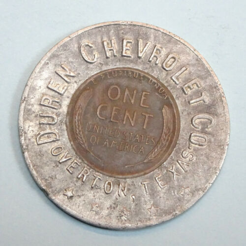 1948 Duren Chevrolet Overton Texas Lucky Encased Wheat Cent