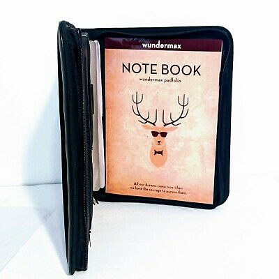 Wundermax Leather Zipper Padfolio Portfolio Writing Pad Tablet Sleeve