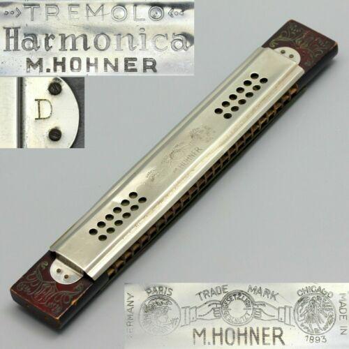 "VTG Old Original M. Hohner 48-Hole Tremolo Harmonica Key of ""D"", Germany BIN"