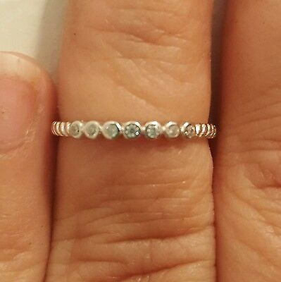.925 Sterling Silver Ring size 3 CZ Kids Midi Ladies Baby Thumb Knuckle New x75