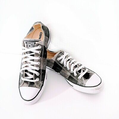 Converse Plaid Sneakers (Converse Chuck Taylor All Star Low Top Gray Plaid Sneakers Men's size 9)