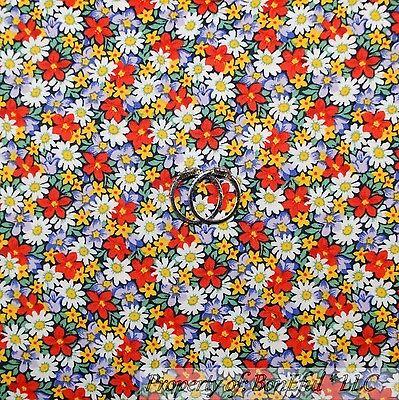 BonEful Fabric FQ Cotton Quilt Rainbow Bright Retro Red White Yellow Flower Tiny - Kids Rainbow Bright Costume