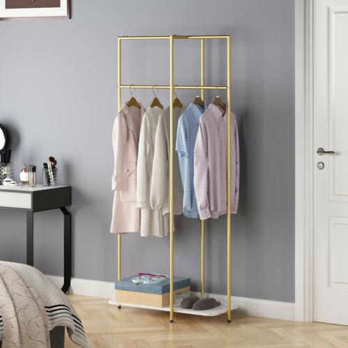 Garment Rack, Metal Clothing Rack Freestanding Hanging Rack Gold & White