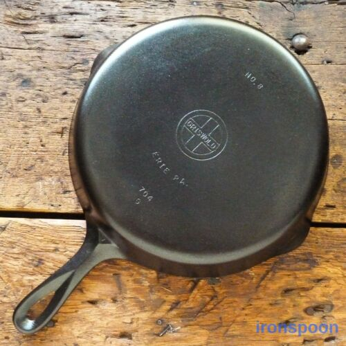 Vintage GRISWOLD Cast Iron SKILLET Frying Pan # 8 SMALL BLOCK LOGO - Ironspoon