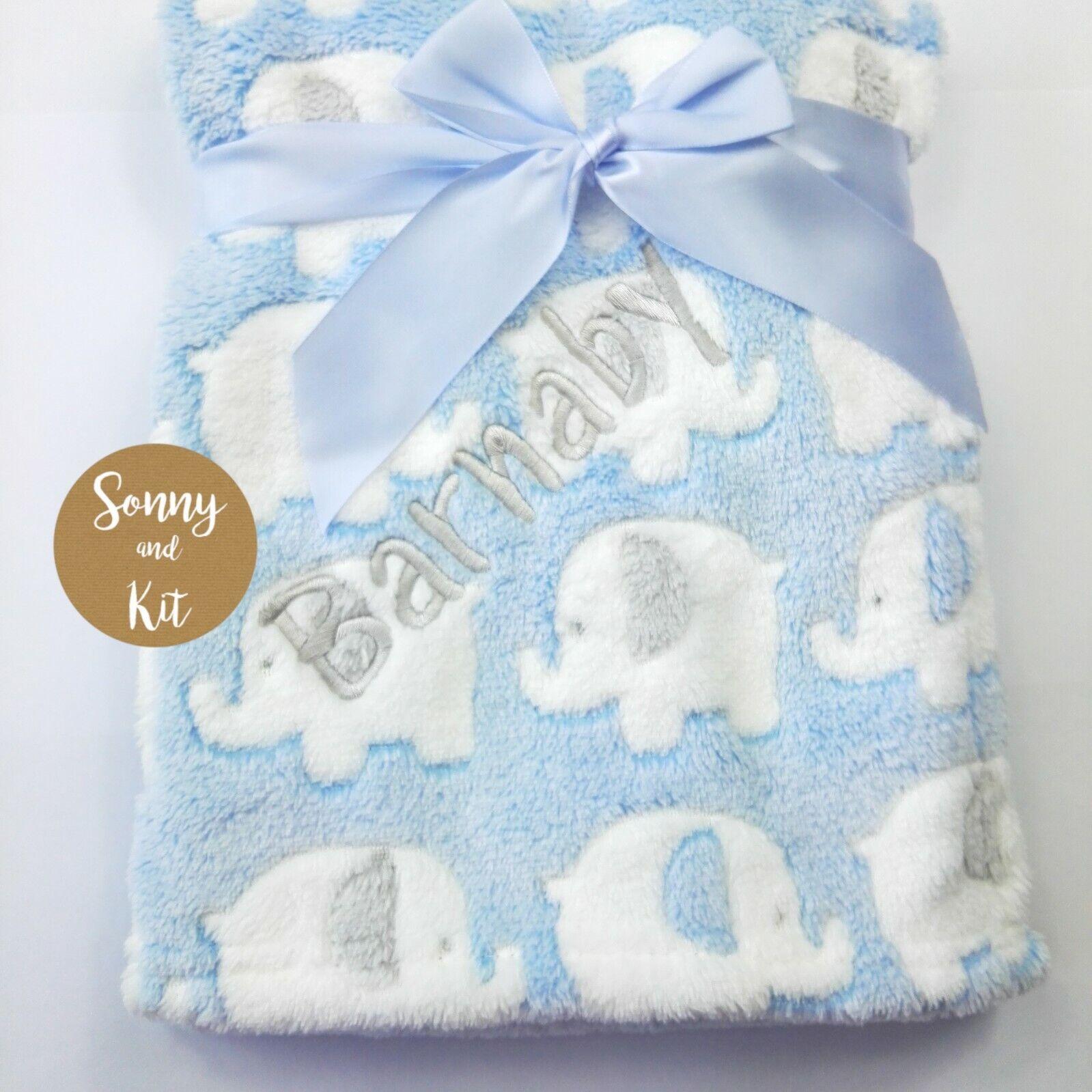 Personalised elephant baby blanket customised cute animal design throw