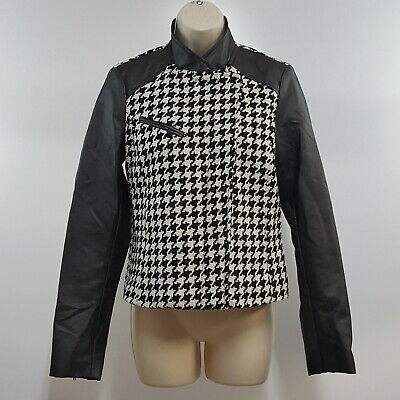 a.n.a. A New Approach Womens Jacket Black and White Houndstooth Zip Front Size S Black N White Womens Jacket