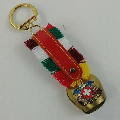 Keychain Switzerland Grindelwald Swiss Cow Bell Leather Metal Colorful - Lot #17](Cowbell Keychain)