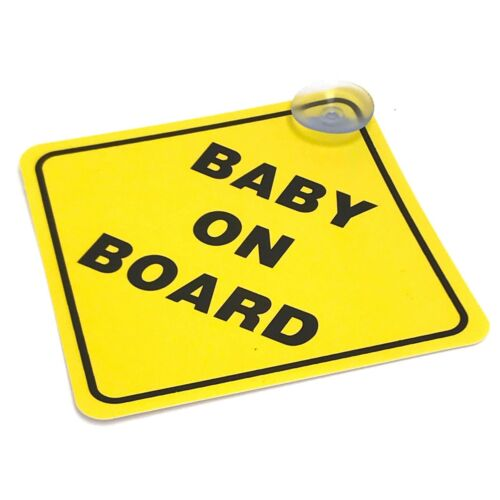 2 or 1 Baby On Board SAFETY Car Window Suction Cup Yellow REFLECTIVE Sign 5x5""