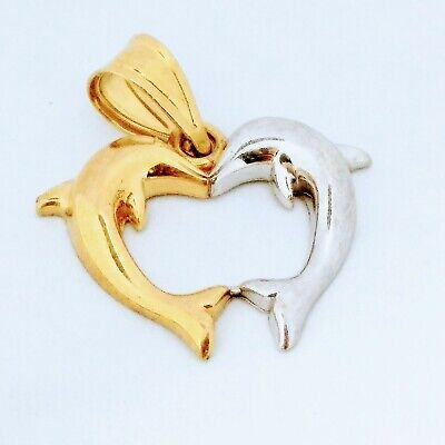 14k Two Tone Yellow White Gold Dolphins In Heart Pendant Charm -