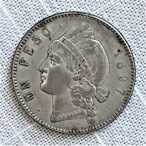 1897A Dominican Republic Peso Coin, KM# 16, Silver, One Year Type, VERY RARE!