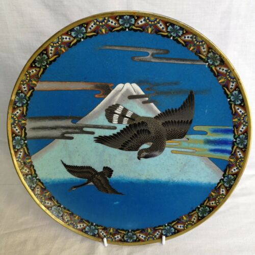 Super Japanese Cloisonne Charger – Eagle over Fuji – C.1930's