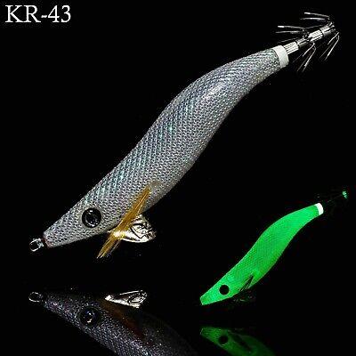 RUI Squid Jig White UV Clear Glow AKA TERMINATOR Egi Fishing Lure Size 3.0