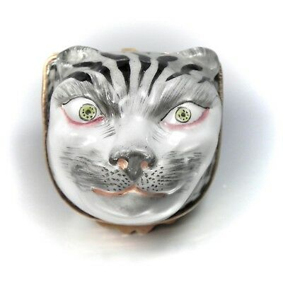 19th Century Vienna White Tiger Hinged Snuff Box Antique Royal Porcelain Trinket