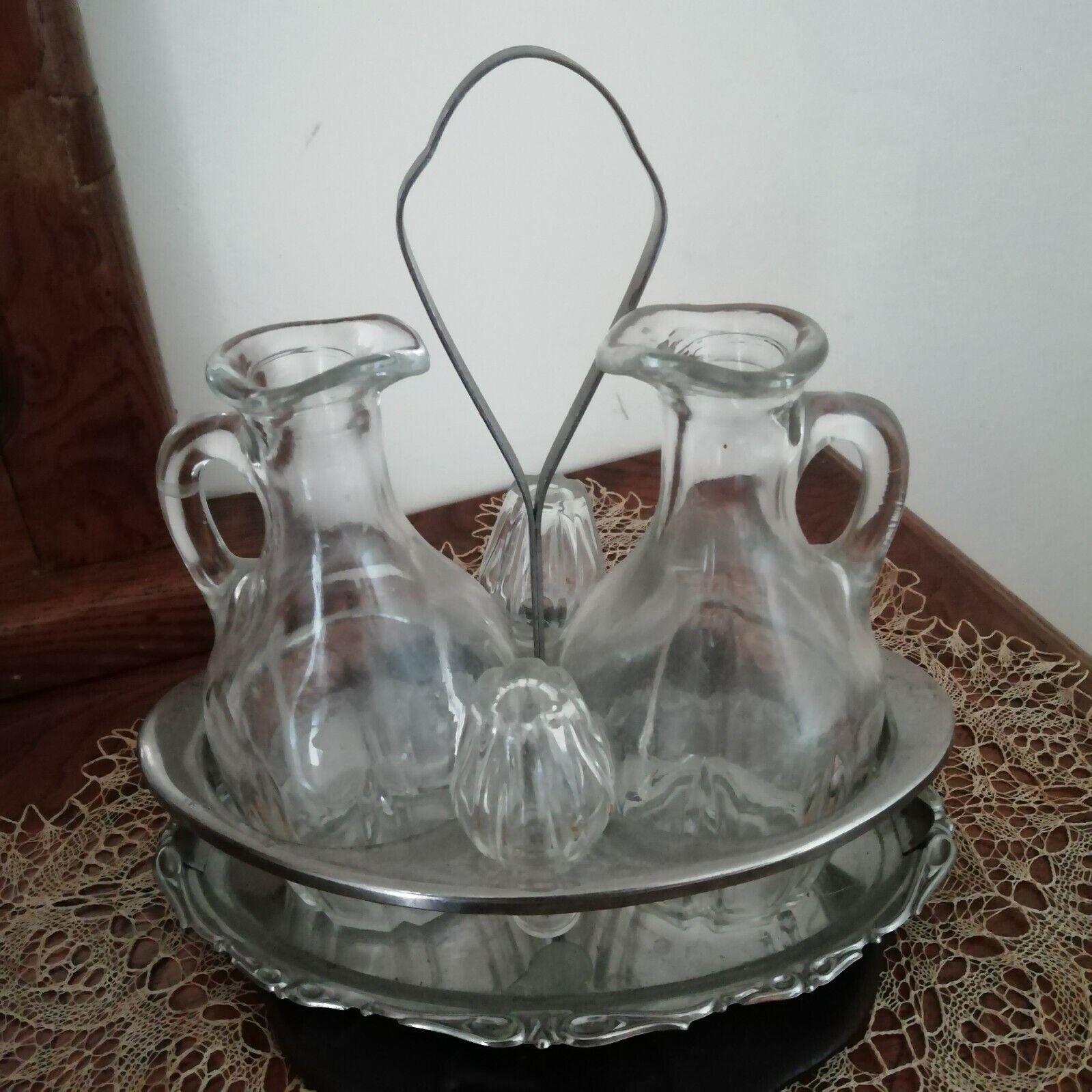 Set da tavola porta olio e aceto vintage bottiglie vetro acciaio oliera acetiera
