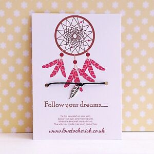 Follow Your Dreams - Dreamcatcher Feather Charm - Wish/Friendship Bracelet Gift