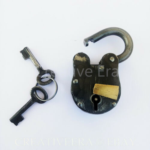 Antique Style Metal Lock and skeleton Keys Police Jailer Padlock Vintage Gift
