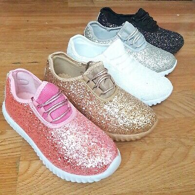 Big Kids Girls Tennis Shoes Glitter Sparkly Joggers Size 10-4 Sneakers