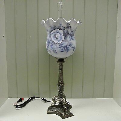 Kaldun & Bogle Glass Blue Rose Bell Ruffle w/ Hurricane Lamp - Blue Hurricane Lampe