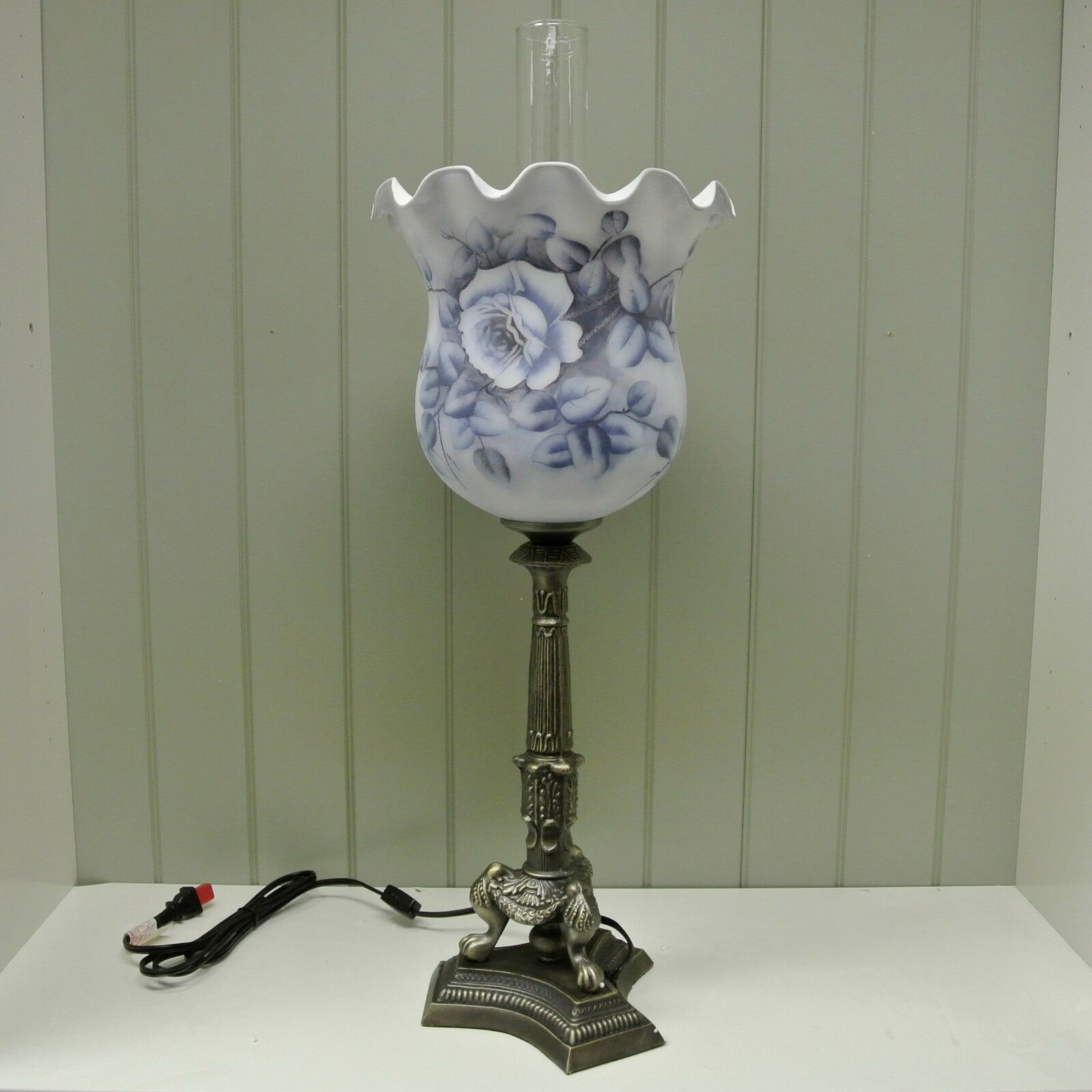 Kaldun & Bogle Glass Blue Rose Bell Ruffle w/ Hurricane Lamp