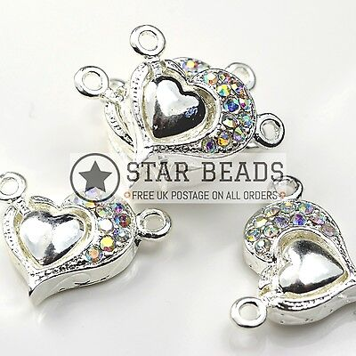 5 GLASS RHINESTONE SP MAGNETIC HEART CLASPS 15MM CLEAR AB