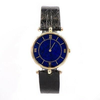 PIAGET 18K YELLOW GOLD CASE BLUE DIAL LEATHER BAND MANUAL WINDING MENS WATCH