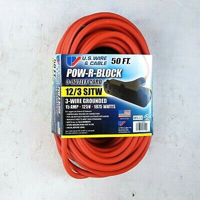 50' 12 Gauge Orange Extension Cord w Triple Outlet - MADE IN USA