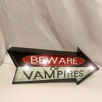 New Beware Of Vampires Metal Light Up Sign Halloween Decoration