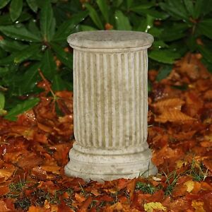 Small Round Column Plinth Stand Base Garden Ornament Statue Stone Cast Aged