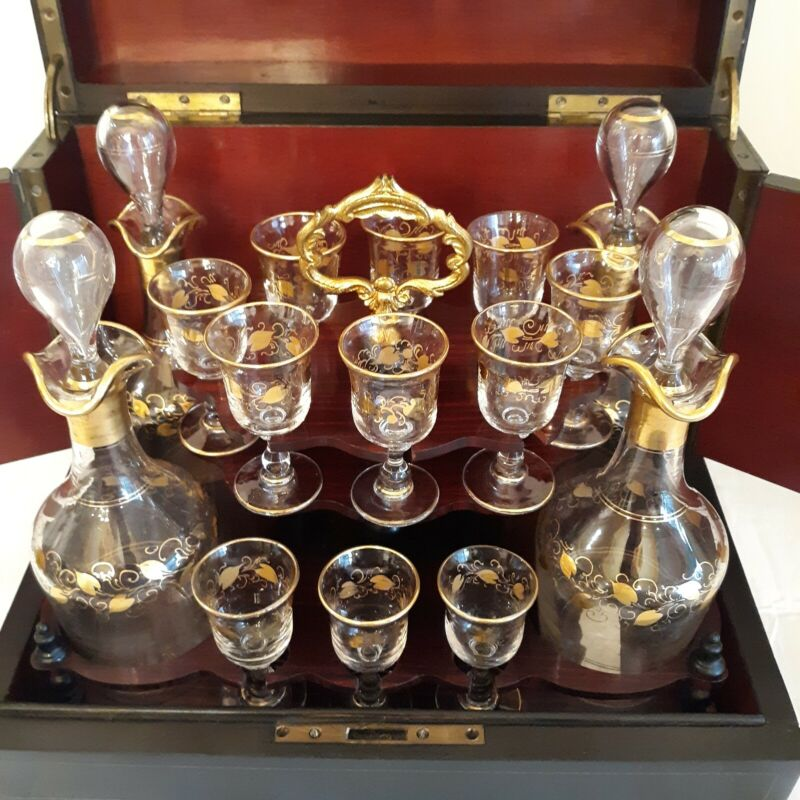Antique Original 18pc. French Tantalus Rosewood Decanter Liqueur Liquor Set