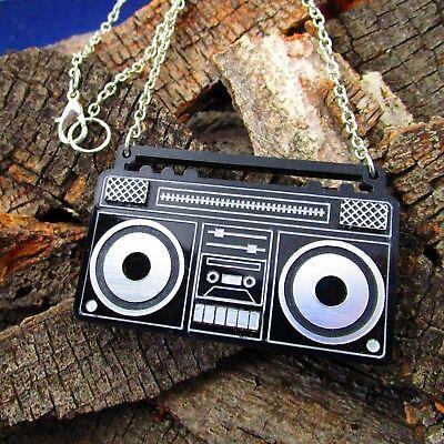 reo Boom Box Anhänger Statement Halskette Radio Tape Player (80er Jahre Boombox)