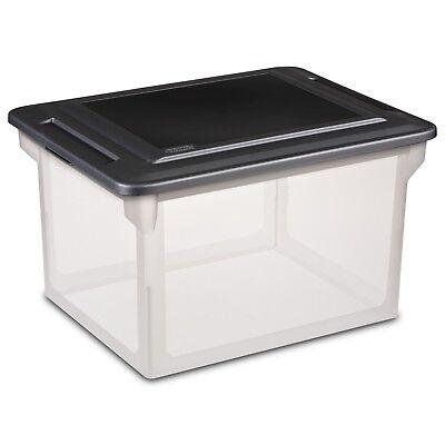 Sterilite File Box Storage Container Clear Base w/ Black Lid 18.5