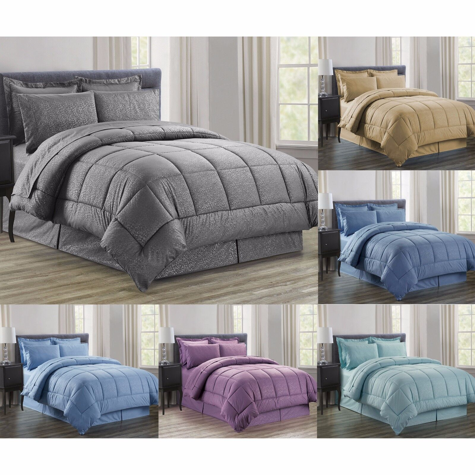 8 PC Vine Down Alternative Bed in a Bag, Comforter, Sheets,