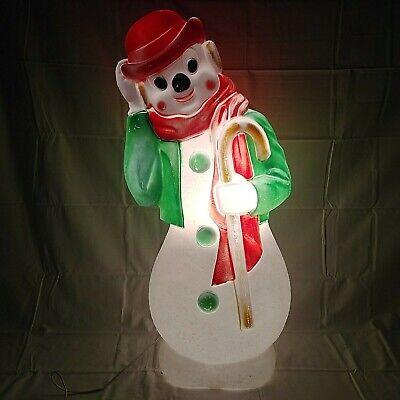 "Empire Snowman Christmas Blow Mold Derby Hat Cane Lights Yard Decor 33"" Vintage"