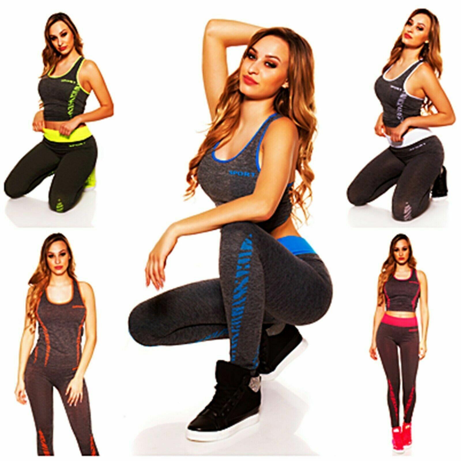KouCla Damen 2-teilige Set Trendy Workout Outfit Top+Leggings Jogging Fitness