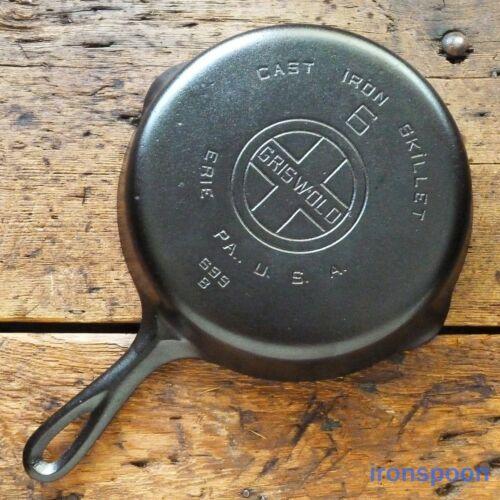 Vintage GRISWOLD Cast Iron SKILLET Frying Pan # 6 LARGE BLOCK LOGO - Ironspoon