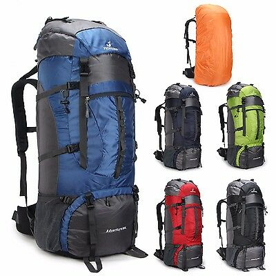 80L Outdoor Sport  Travel Hiking Camping Backpack big Rucksack Bag Waterproof Cv