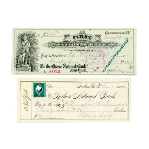 1 set of 2 diff. New York USA bank checks nice used