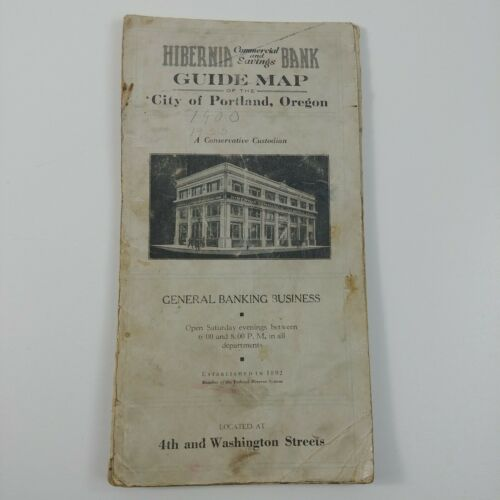 Hibernia Commercial & Savings Bank Guide Map Portland Oregon Antique 1920