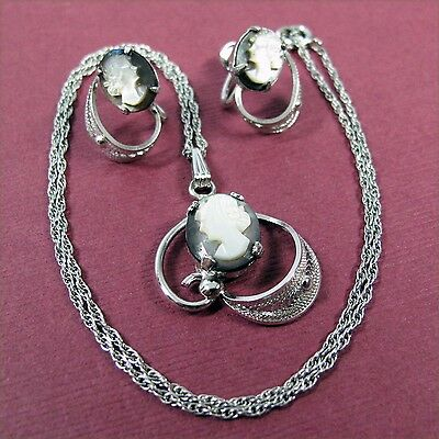 Sorrento Sterling Silver Mother of Pearl Cameo Pendant Necklace & Earrings Set
