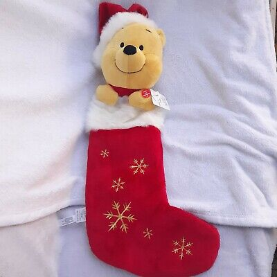 NEW Disney Store Winnie The Pooh Christmas Stocking 3D Plush Holiday musical