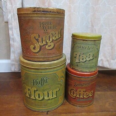 4 Ballonoff Green Red Vintage Nesting Tins Canister Set Flour Sugar Tea Coffee