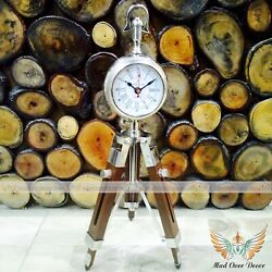 Aluminium Designer Table Trophy Style Clock On Wooden Tripod Timepiece Gift Item