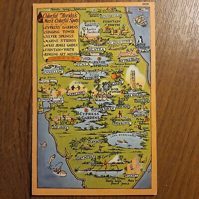Postcard map of Florida's Most Colorful Attraction Spots USA map Postcard