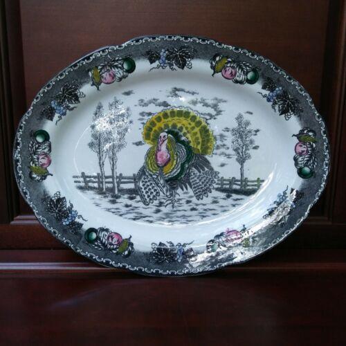 """Vintage NSP 18.5"""" Ironstone Turkey Platter"""