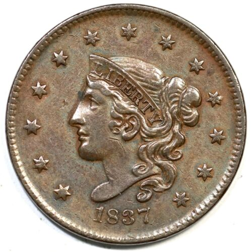 1837 N-8 Matron or Coronet Head Large Cent Coin 1c