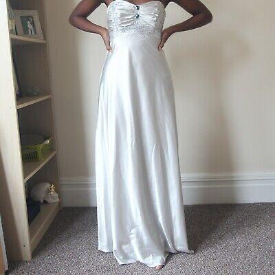 Jessica Mc Clintock Silver Satin Ball Gown Prom Dress RRP $170