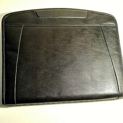 Padfolio Business Pu Leather Portfolio Zippered Notebook Black Office Organizer