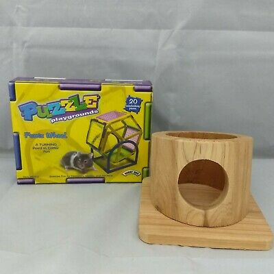 Exercise Wheel and Wood House Hut Nester for Pet Hamster Gerbil Mouse Custom -