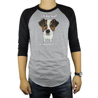 Jack Russell Terrier Dog Baseball Raglan T-Shirt Tri Blend Soft Fitted Tee Cute